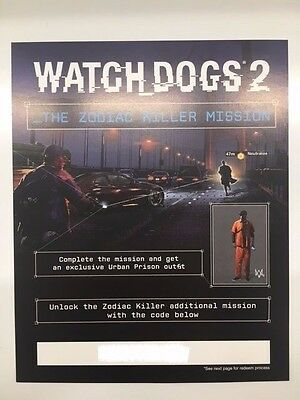 WATCH DOGS 2 SAN FRANCISCO Collectors Edition PS4 Zodiac killer mission CODE UK
