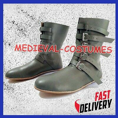 Medieval Renaissance Shoes Viking Mens Leather Boots Costume Role Play
