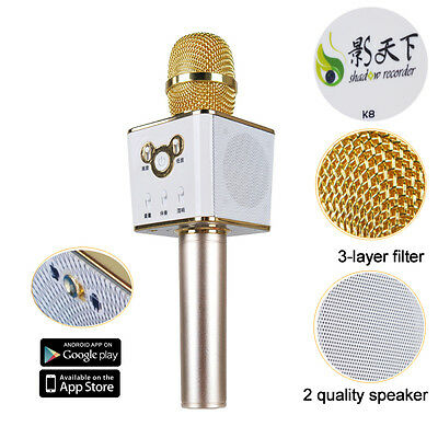 Shadow K8 Handheld Microphone Wireless KTV Speaker Mic For Iphone Android Q4Y