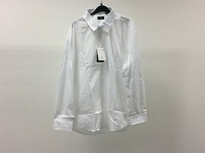 Mens White Standard Plain Formal Dinner Work Shirt Size 18 - 2A184