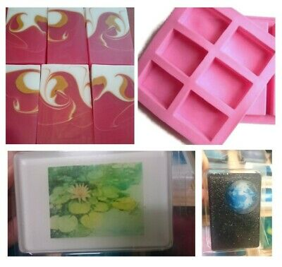 RECTANGLE 6 Cavity GLOSS Quality Silicone Mould: Soap Candle Muffin CupCake Mold