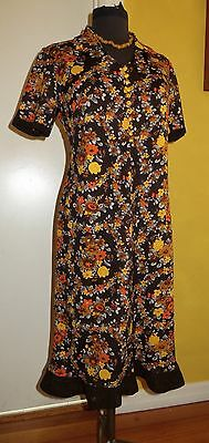 Vintage 70's Autumn Floral Jersey Stretch Shift With Crocheted Edges. Size 14?