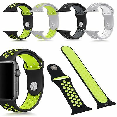 Replacement Silicone Sports Band Bracelet Strap For Apple Watch 38mm 42mm