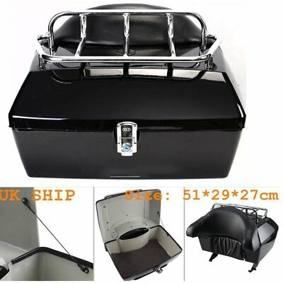 Hard Motorcycle XL Top Box Trunk Luggage Case Release Tail Rack Backrest 48L New