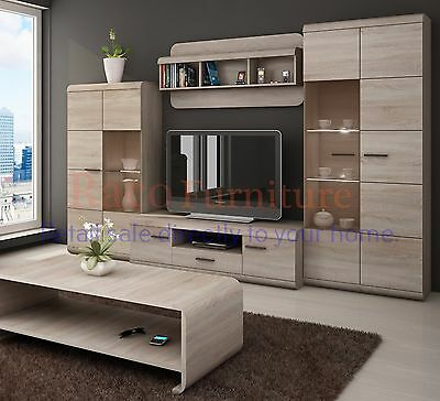 "TV Wall Unit ""LINK"" Set of Living room Furniture /4 piece wall unit/LED lighting"