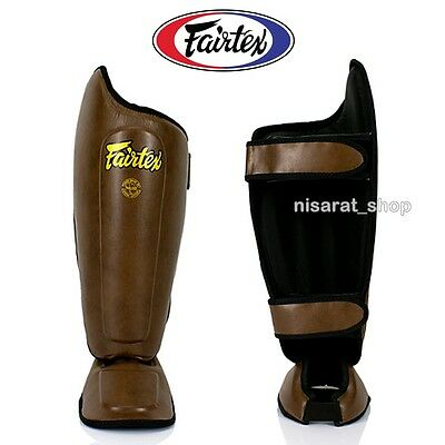 Fairtex Shin Pads Protector Guards Sp8 Brown Muay Thai Boxing Training Mma