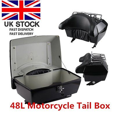 Motorcycle back top box case universal scooter motorbike rear luggage black 48L