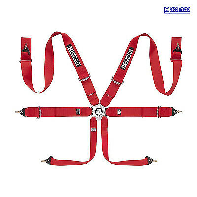 Sparco 6 - point Safety Belts, narrowed to Hans, Roll Cage fixing, red