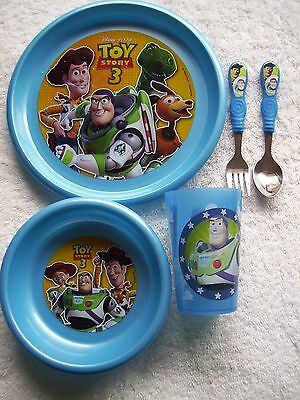 Child's Toy Story Spoon & Fork, Plastic Cup, Bowl & Plate Set VGUC
