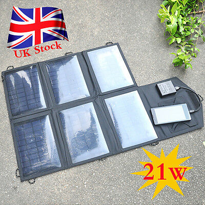 10.5W / 21W Foldable Solar Panel Battery Charger USB Power Bank Pack Camping UK