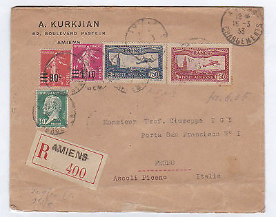 FRANCE REGISTERED COVER TO ITALY WITH 1930 AIRS SET SG.483-4 etc