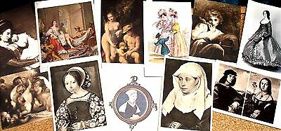 Lot of  11 Vintage Postcards - Mostly Famous Portraits  - British & Italian