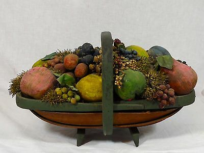 Antique Primitive Split Reed Basket With Hand Painted Wood Carved Fruit & Dried