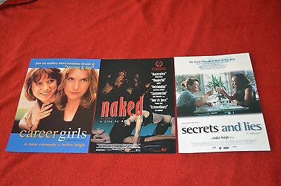 Collection Of 3 Mike Leigh Movie Flyers Naked Secrets And Lies Career Girls Mint