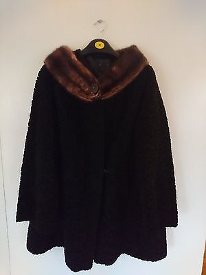 Stunning Astrakhan Vintage Coat  Astra Furs Paris Lamb Mink Fur Coat UK 12 - 14