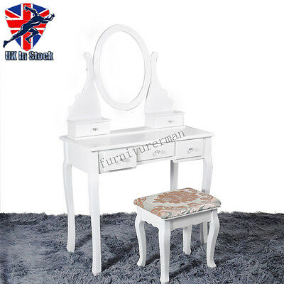 White Makeup Mirror Dressing Table Set With Stool DrawerJewelry Desk Wood Girls
