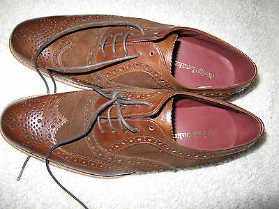 Design Loake mens brown mix leather & suede brogues shoes UK 8 new