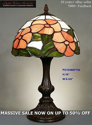 Painted Glass Leadlight Floral Lounge Table Lamp Night Light