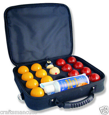 """Super Aramith Pro cup 8 ball - pool ball set 2"""" + carry case & ball cleaner"""
