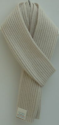 Gents Pure Cashmere Knitted Scarf - Wide Fine Rib Design - Pale Grey