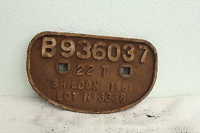 Cast Iron Wagon Plate Built At Shildon In 1961