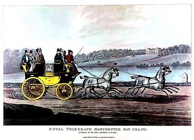 Royal Telegraph Manchester Day Coach (1834) Quality Litho after Robert Havell