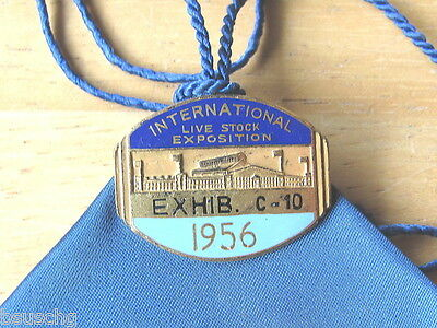 1956 Int. Livestock Exposition Union Stock Yards Angus Ribbon & Exhibitor Pin