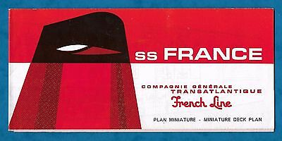 1967 French Line S.s. France Miniature Deck Plans Illustrated Leaflet