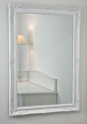 "Isabella White Shabby Chic Rectangle Antique Wall Mirror 42"" x 30"" Large"