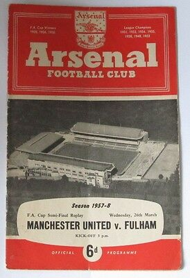 1957/1958 FA Cup Semi/Final Replay at Arsenal. Manchester Utd v Fulham.