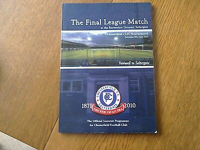 football programme Chesterfield fc last game at Saltergate
