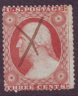 United States (1) 1857,  3 Cents,   Red, Used, Scott N° 26 PEN