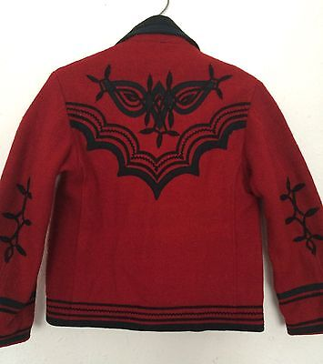 Vintage Kids Red Wool Mexican Embroidered Festival Bolero Jacket 4-5 Y Collector