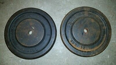 VINTAGE Two 50LB YORK Barbell Standard weight plates     (100 lbs total)