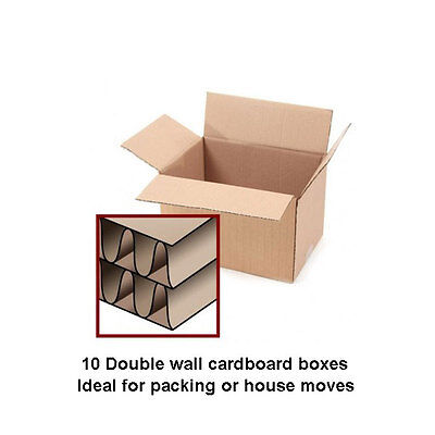 10 X LARGE Double Wall Cardboard Boxes Removal Packing Storage Box - House Move