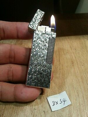 Exc Dunhill lighter DX34 ~ Bark body silver  plated rollagas,  serviced & grte