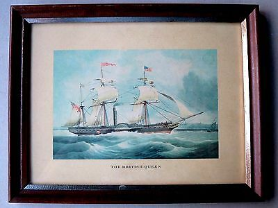 Antique LITHOGRAPH Framed STEAM SHIP THE BRITISH QUEEN