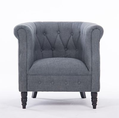 FoxHunter Linen Fabric Tub Chair Armchair Dining Living Room Lounge TC07 Grey