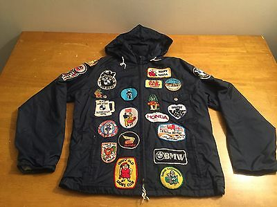 Vtg  BMW Honda Racing Motorcycle Jacket W/Patches 70's 80's SZ S Pacific Trail