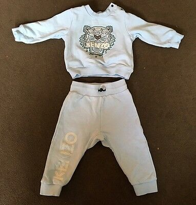 Baby Boys Kids Light Blue Kenzo Tracksuit Jumper & Trousers Sets Age 18 Months