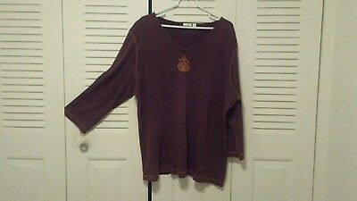 Womens Apt. 9 Long Sleeve  Top. 100% Cotton. Brown  Size: 3X