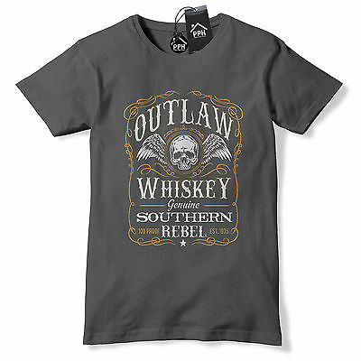 Outlaw Whiskey T Shirt Mens Drink Tee Motorcycle Fathers Day Gift Tshirt 544