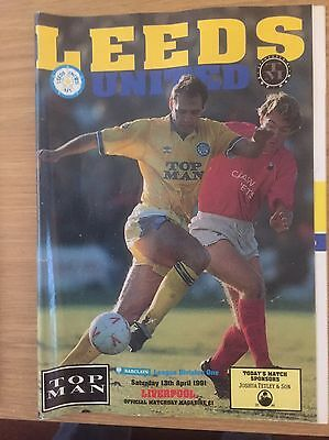 Leeds v Liverpool Programme 13th April 1991