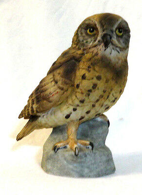 Porcelain  Owl Perched On Rock  Figurine 4 1/2""