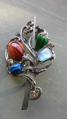 Beautiful Vintage Signed Exquisite Agate Stone Set Brooch 1950's
