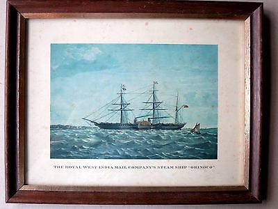 """Antique LITHOGRAPH Framed THE ROYAL WEST INDIA MAIL COMPANY'S SHIP """"ORINOCO"""""""