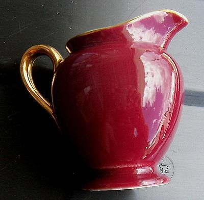 Steubenville Burgundy and Gold Creamer  USA