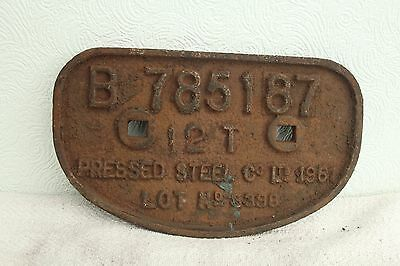 Cast Iron Wagon Plate Built By Pressed Steel& Co.