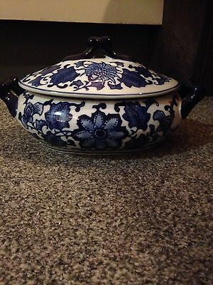 Beautiful Blue Patterned Serving Oval Dish