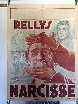 NARCISSE Affiche Cinema Originale 1940 RELLYS Original WWII Movie Poster French